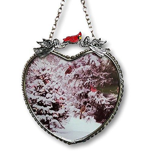 Banberry Designs Winter Szene Sonnenfänger-Glas Herz Sun Catcher mit Cardinals und Weihnachtsbäumen-Herz Zum Aufhängen Fenster
