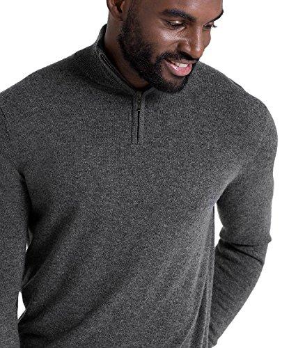 WoolOvers Pullover mit Reiverschluss am Ausschnitt aus Merinowolle-Kaschmirwolle für Herren Charcoal