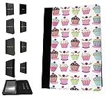 1624–Bunte Cupcakes Treats Cartoon Candy Collage Design Amazon Kindle Fire HD 17,8cm 5. Generation (2015Release nur) Fashion Trend TPU Leder Flip Case Schutzhülle Portemonnaie Tasche Book Style Defender Stand Cover
