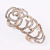 STOREINBOX New Crystal Rose Flowers Sterling Silver Plated Knuckle Ring Joint Ring Gold