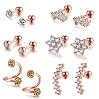 AIM Cloudbed 6 Pairs CZ Ball Stud Earrings for Women Girls Stainless Steel Ear Cartilage Earrings Ear Helix Conch Cartilage Piercing for Tragus Cartilage Ear(Rose Gold)