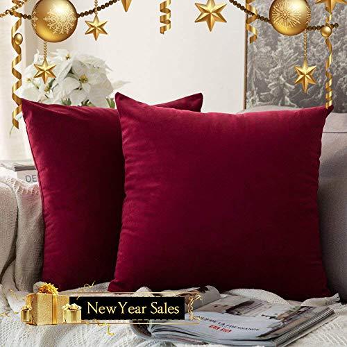 MIULEE 2er Set SAMT Weihnachten Christmas Zierkissenbezug ohne Füllung-Zierkissenhülle Dekorative Kissenbezug Weihnachtskissenbezüge mit Verstecktem Reißverschluss 20x20 Zoll 50 x 50 cm