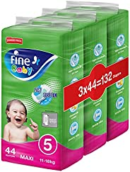 Fine Baby Diapers, DoubleLock Technology , Size 5, Maxi 11–18kg, Jumbo Pack. Value bundle pack, 132 diaper cou