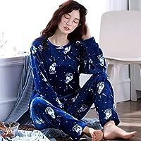 YTNGA Pijamas De Mujer Pijamas Mujer InviernoPijamas Mujer Conjunto Pijamas Gruesos Mujeres Long Homewear Sueño, Pijamas Mujeres Invierno, L
