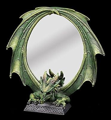 Drachen-Figur als Tischspiegel - grüner Drache