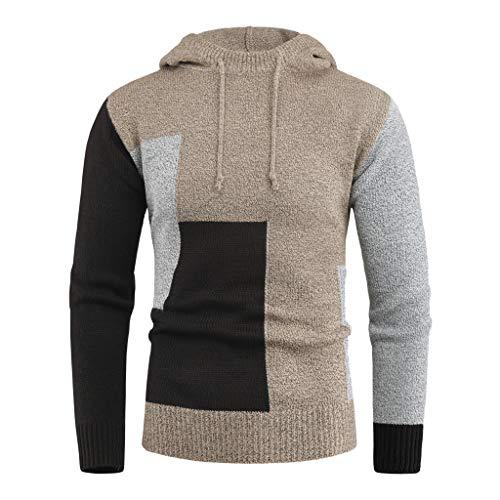 Aoogo Herren Farbblockierter Strickpullover Feinstrick Langarmshirt Crew Neck Pullover Sweatshirt Pulli Mit Rundhalsausschnitt