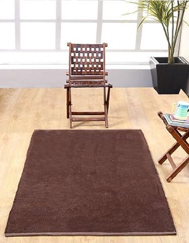 Homescapes waschbarer Chenille Teppich Vorleger 90 x 150 cm aus 100% reiner Baumwolle, Farbe: schokolade, pflegeleicht und