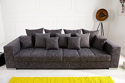 Design XXL Sofa BIG SOFA ISLAND in grau charcoal Strukturstoff inkl. Kissen - 4