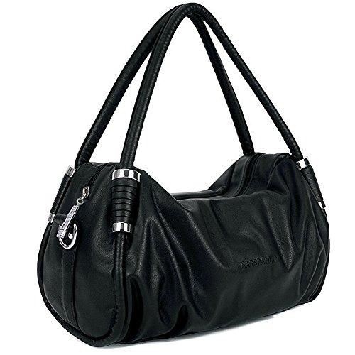 Padgene Leder Damen Handtasche Schultertaschen Shopper Tragetasche (Schwarz)