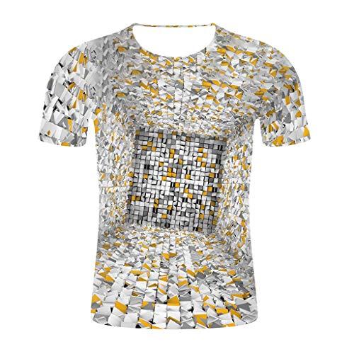 SIRIGOGO Mosaic Printed Tops für Männer, Herren 3D Mosaic Printed Bluse Rundhals T-Shirt mit kurzen Ärmeln Mode T-Shirts, S ~ 4XL