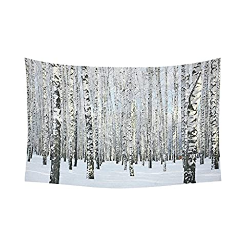 Interestprint bouleaux Tapisserie mural horizontal à suspendre Snowy Winter Forêt