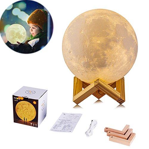 (3D Luna Mond Lampe Nachtlampe, Helligkeits-Anpassung, verzaubernde Dekoration, LED Nachtlicht Nacht Tischlampe Kinderzimmerlampe für Jungen und Mädchen Zimmer & Kindergarten, 13 cm Durchmesser)