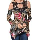 Toasye Damen Sommer Kurzarm aushöhlen unregelmäßigen Saum Blumendruck lässig Tunika T-Shirt T-Shirt