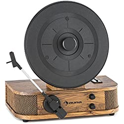 auna Verticalo S Tocadiscos con altavoz • Reproductor de vinilos • Plato giratorio vertical • Puck magnético • Puerto USB compatible con MP3 • RCA • Sistema fonocaptor • Aguja • Café
