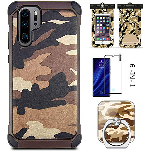 HAIWILL 6-IN-1 Outdoor Camouflage Hülle für Huawei P20 Pro Doppelschicht Handyhülle mit wasserdichte Tasche + Ring Ständer + Panzerglas + 4 Airbag + Kompass Multifunktional Stoßfest Schutzhülle,Braun