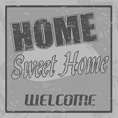 Bilderdepot24 Vlies Fototapete - Home Sweet Home - schwarz Weiss - 300x300 cm - mit Kleister - Poster - Foto auf Tapete - Wandbild - Wandtapete - Vliestapete (Pergament-foto-papier)