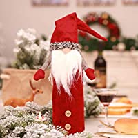 CALISTOUS Wine Bottle Cover Christmas Faceless Doll Xmas Bottle Decoration Christmas Bottle Bags With Drawstring Table Bottle Decor Red