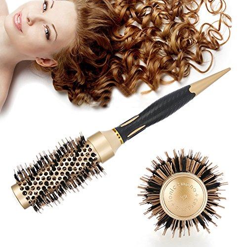 Spazzola rotonda dei capelli, spazzola per capelli in ceramica rotonda setole naturali in cinghiale per asciugare capelli, pettine antistatico professionale per capelli spazzola(32 mm)