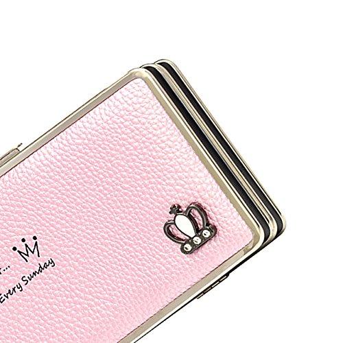 Bonice Diamante Corona borsa del portafoglio da donna con la chiusura lampo in pelle PU multifunzione [Grande capacità] Card Slots Case Cover per iPhone 8/8 Plus/iPhone X, iPhone7/7 Plus/6S/6S Plus/6/ Longwallet-Cover-09