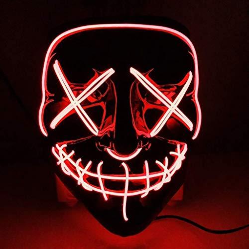 AUGOLA Halloween Led Máscaras,  Purga Mascara Led Mask 3 Modos de Iluminacion para Halloween Navidad Cosplay Grimace Festival Fiesta (Rojo)