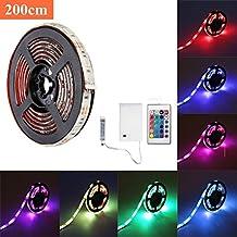 Tira LED, SOLMORE Tira Ligera de Luz RGB 2M 4 modos 7 cambios en colores IP65 Impermeable Control Remoto para la decoración del partido casarse club navidad ...