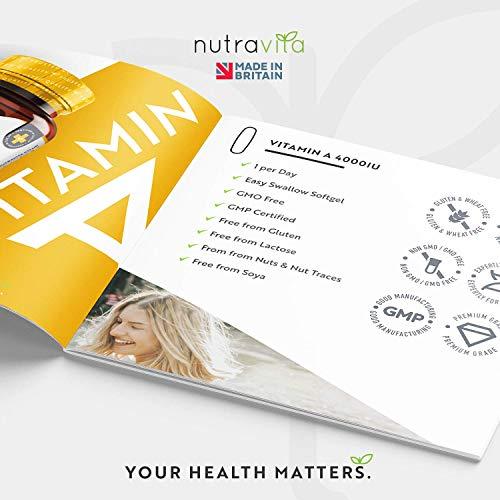 51hukaFLKWL - Vitamina A 8000 UI - Suministro para 1 año - 365 cápsulas blandas de la máxima potencia, fáciles de tragar - 2400μg de vitamina A en cada cápsula - Producto elaborado por Nutravita en el Reino Unido