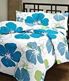 eCraftIndia Blue Flowers Single Bed Reve...