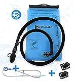 Luamex® Premium Trinkblase – 2L Wasserblase – BPA frei - Trinkbeutel – Trinksystem mit On/Off Ventil, isolierter Trinkschlauch – ideal für Trinkrucksack, Laufen, Radfahren, Wandern, Camping