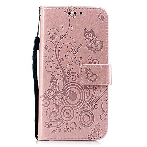 ZCXG Nokia 3 2018 Nokia 3.1 Case Clear Rose Gold Butterfly Leather Wallet Cover Shockproof Card Slots Flip Stand Phone Protective Cover Slim Fit Magnetic Closure Ultra Thin Silicone Cover Inner Thin Stand