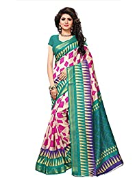 Fabwomen Sarees Floral Print Multicolor And Green Coloured Cotton Silk With Zari Border Fashion Casual Wear Women's...