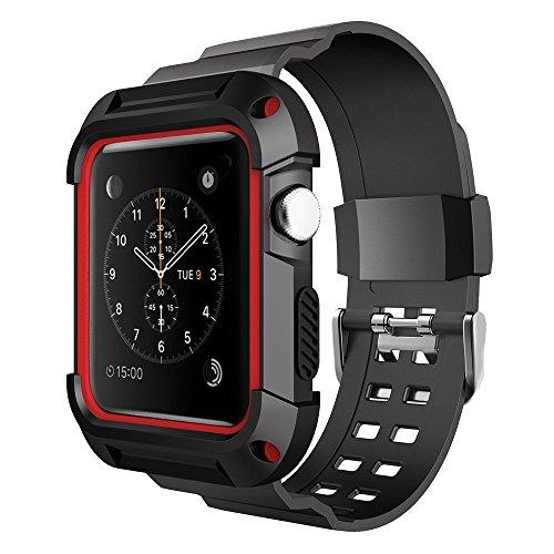 Simpeak-Correa-para-Apple-Watch-Series-2-1-42mm-Reemplazo-de-Silicona-Suave-Deportiva-banda-para-Apple-Watch-Correa-funda-apple-watch-Negro-y-Rojo