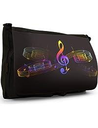 Fun With Music Black Large Messenger School Bag