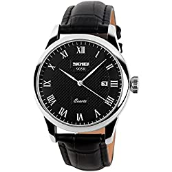 CIVO Men's Luxury Black Genuine Leather Band Date Calendar Wrist Watch Mens Casual Business Analogue Quartz Waterproof Wrist Watches Classic Roman Numeral Black Dial Fashion Dress Wristwatch