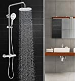Sccot Thermostat Shower System, Wall Mounted Circular Chrome Bathroom Shower Mixer with Rainfall