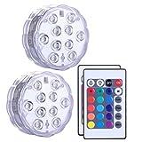 MMLC 2Pcs Tauch LED-Leuchten Fernbedienung RGB ändern wasserdichte Licht Party Home Decor Beleuchtung Lichter Submersible LED Lights (klar)
