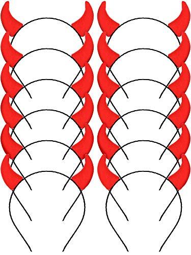 Blulu Teufel Horn Stirnbänder Halloween Horn Stirnbänder Kostüm Teufel Stirnband für Damen Mädchen Accessoires, Rot - Ein Teufel Kostüm Mädchen