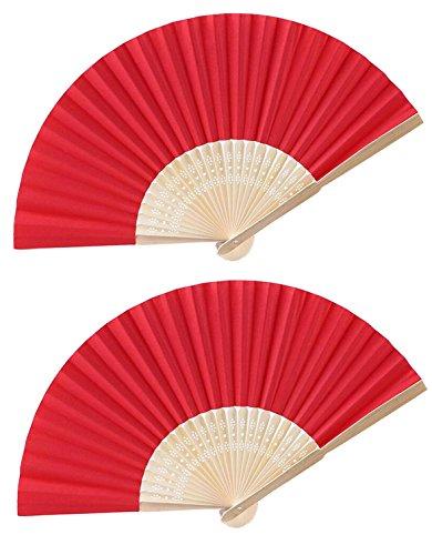 Upstore 6 STÜCKE Mini Reine Farbe Bambus Faltfächer Handheld Gefaltet Papier Fan DIY Handwerk Werkzeuge für Tanzen Requisiten Kirche Geschenk Hochzeit Gefälligkeiten Dekoration Zubehör (Rot)