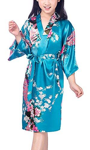 Dolamen Kinder Mädchen Morgenmantel Kimono Satin Nachtwäsche Bademantel Robe Peacock Blume Negligee Schlafanzug Schwimmen Hochzeit Geburtstag (Größe 12(Höhe 130-145cm (51