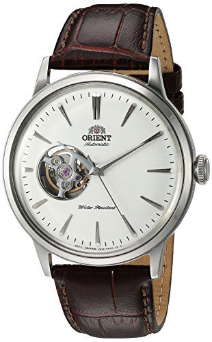 Orient Men's 'Bambino Open Heart' Japanese Automatic Stainless Steel and Leather Dress Watch, Color:Brown (Model: RA-AG0002S10A)