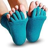EDGEAM Unisexe Wellness Toe Chaussettes Toe épandeur Pédicure Flip Flops Titulaire Santé Massage Des Pieds Orteil (Turquoise)