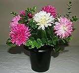 ARTIFICIAL PINK & CREAM MUM FLOWER ARRANGEMENT GRAVE POT - VASE INSERT MEMORIAL