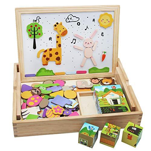 Puzzle Animal en Bois avec Cube d'activité 123 PCS Puzzle Magnétique pour Garçons et Filles Cadeau de Noël 3+