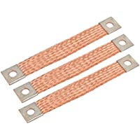 sourcing map 3pcs Conector eléctrico de 150mmx20mm de alambre de cobre trenzado flexible