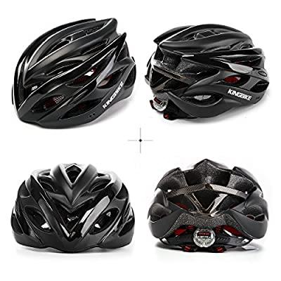 Bike Helmet,KING BIKE Adults Bicycle Cycle Helmet for Men Ladies Women with Safety Rear Led Light and Helmet Rain Cover,Lightweight 56-60CM by KING BIKE