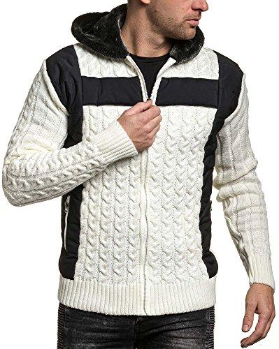 BLZ jeans - Ecru Jacke mit Kapuze Mann Reißverschluss --