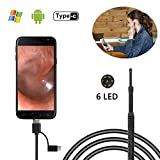 Oreille Endoscope, Bysameyee USB Visuel Earpick Oreille De Nettoyage Otoscope Endoscope Oreille Remover Outil Caméra D'inspection avec 6 LED pour Android Windows PC (Non-Wifi)