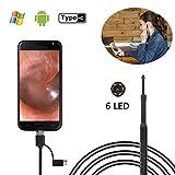 Ear Otoscope, Bysameyee USB Visual Earpick Limpieza del oído Otoscopio Earwax Remover Tool Inspection Camera con 6 LED para Android con Windows PC