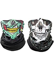 Shinmax 2Pcs Multifuncional al Aire Libre Seamless Skull Tube Máscaras de Tubo, Moto de Ciclismo de Snowboard de Senderismo Headwear Sports Headbands Balaclava Bandana (Verde Enrejado)