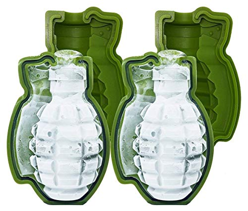 3D Grenade Shape Ice Cube Mold Maker Bar Party Silicone Trays Mold Gift Tool Whisky Cocktail Ice Ball Tray Maker, Perfect Gift for Men, Military Fans