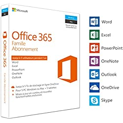 Microsoft Office 365 Famille | 5 PC Windows ou Mac + 5 tablettes | 1 an | Box